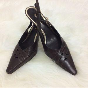 Michelle D   Brown Leather Ankle Strap Heels Sz 8M